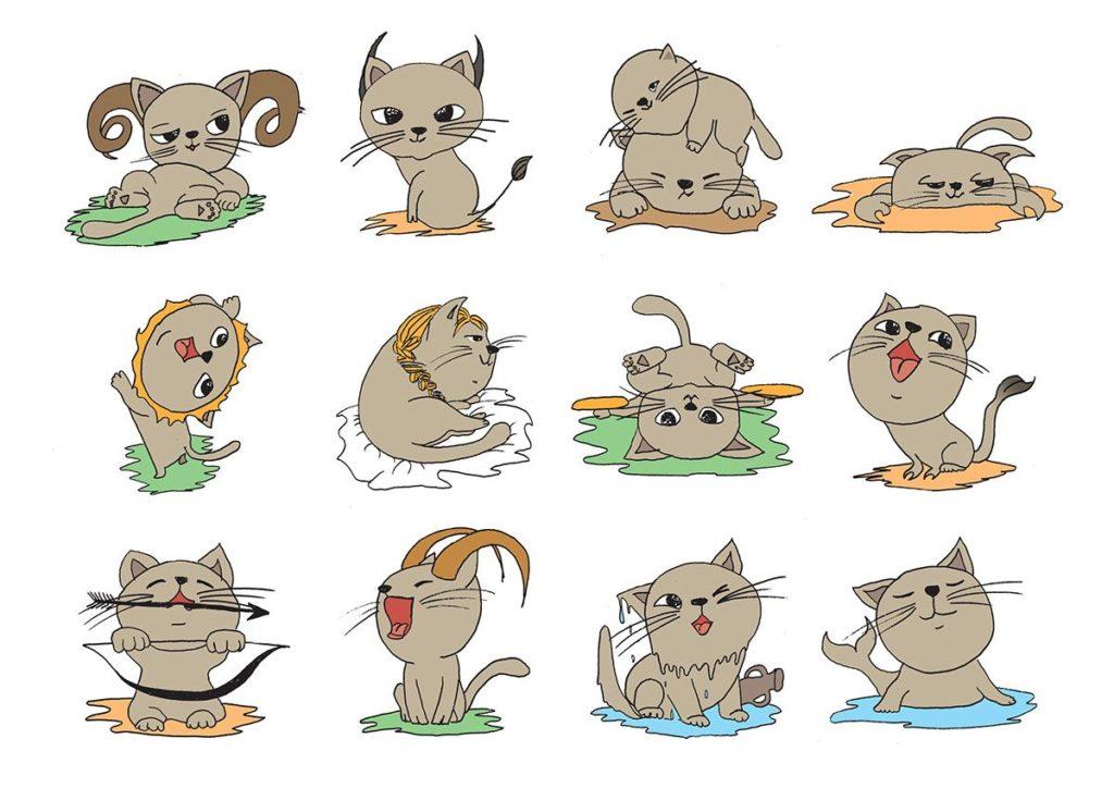 Знаки зодиака с кошками картинки